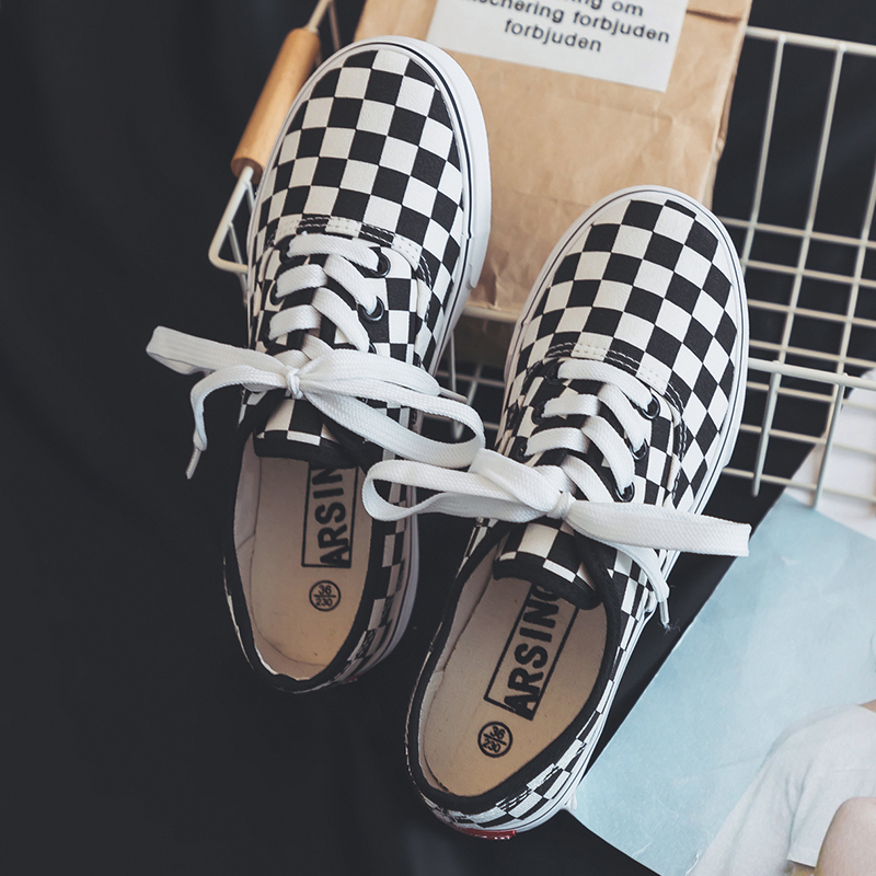 2019 Summer New Canvas Shoes Women's Sneakers Korean Version Lattice Student White Shoes Flat Shoes Casual Skateboard Shoes