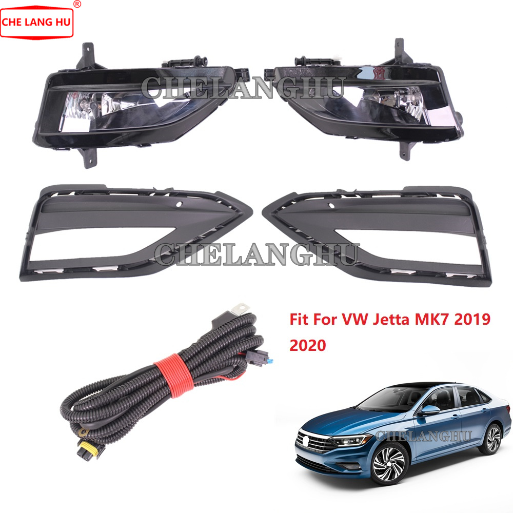 For VW Jetta MK7 2019 2020 Car-styling Front Fog Lights Fog Lamp With Bulbs And Grille