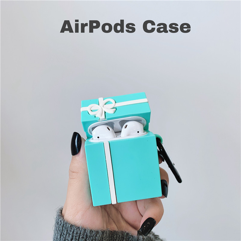 3D Blue bow gift box packaging bearearphone protective sleeve earphone accessories for <font><b>Airpods</b></font> 1 2 i14 i18 <font><b>i30</b></font> PRO <font><b>TWS</b></font> image