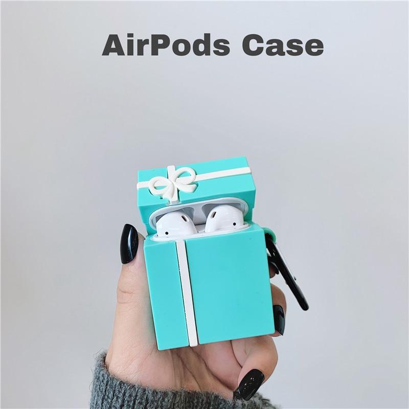 3D bleu bow boîte cadeau emballage bearearphone manchon de protection écouteurs accessoires pour Airpods 1 2 i14 i18 i30 PRO TWS
