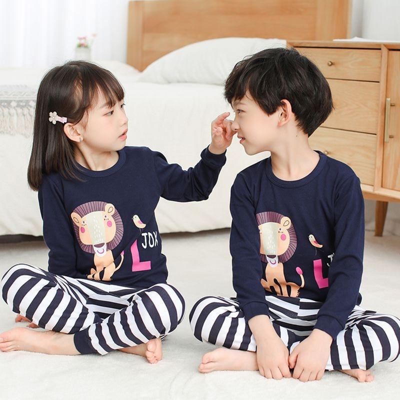 SAILEROAD Children Lion King Pajamas Set Kids Cartoon Animals Pyajamas Boys Homewear Girls Sleepwear Child Clothes Sets Baby PJS 1