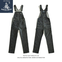 SauceZhan Vintage Torn Overalls Selvedge Jeans Jeans Raw Denim Overalls for Men suspender jeans men Blue Jeans Free Shipping(China)