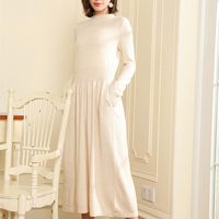adohon 2019 woman Winter 100% Cashmere sweaters and auntmun knitted Dresses Pullovers High Quality Warm Knee Length O neck