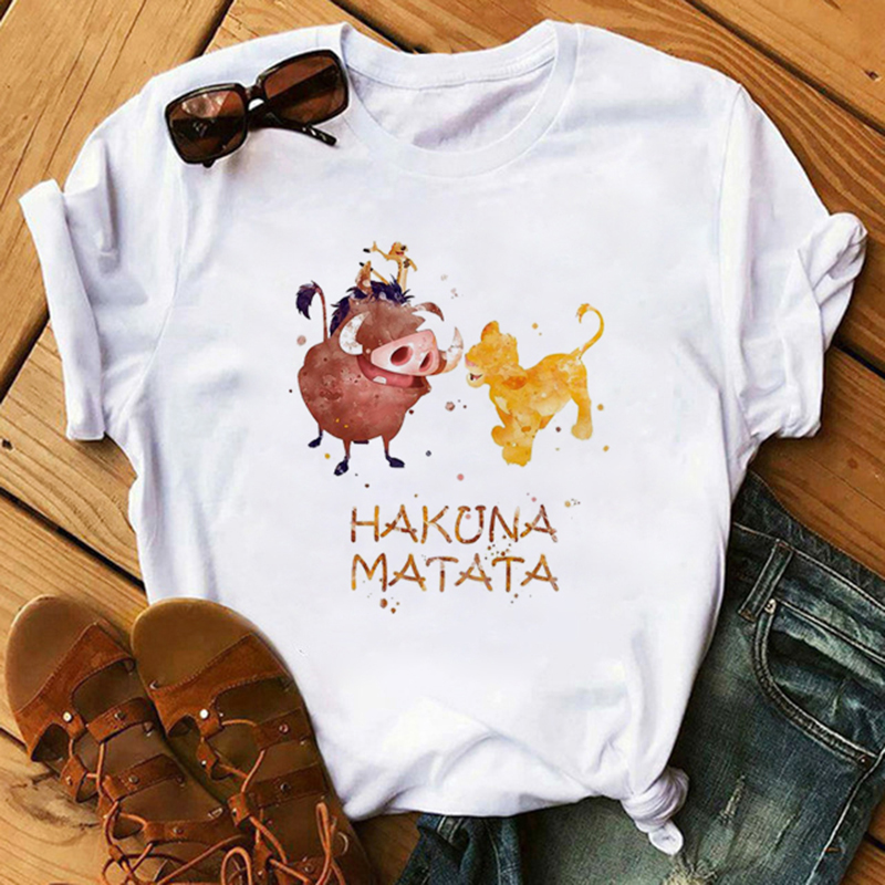 Cartoon HAKUNA MATATA The Lion King Funny Short Sleeve T Shirt Women Two Little Lions Printed Vogue O Neck Tee Shirt Femme