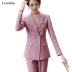 Lenshin 2 Piece Set Women Pant Suits Office Lady Work Wear Formal Female Double Breasted Simple Style Blazer with Trouser