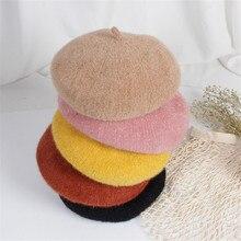Однотонные Популярные Детские Зимние береты ручной работы, детские шляпы художника, шерстяные шляпы, мужские и женские береты, От 2 до 8 лет