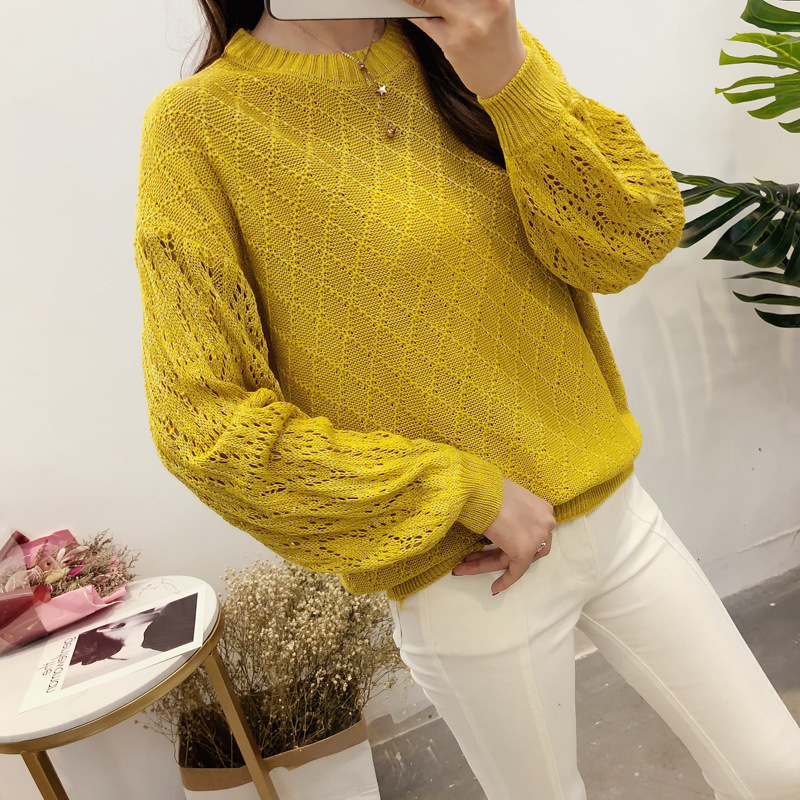 Photo Shoot New Style Crew Neck Pullover Cutout Sleeve Sweater
