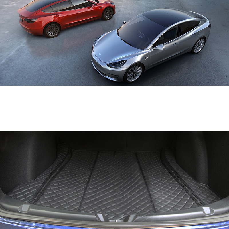 Lsrtw2017 For Tesla Model 3 2019 2018 2020 Leather Car Boot Luggage Trunk Mat Cargo Liner Rug Carpet Durable Wearable