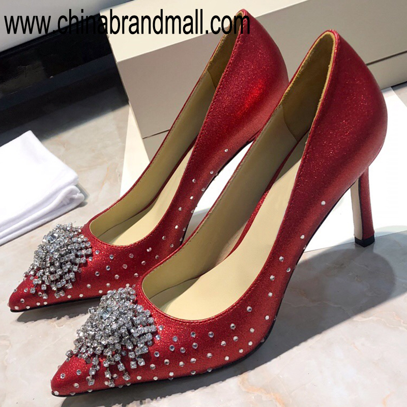 Red Rhinestone Shoes For Women 2019 Elegant Pumps High Quality Runway Women High Heel Pumps