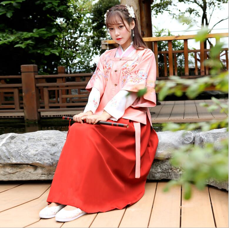 Pink Fairy Sakura High Quality Hanfu  Women's Casual Martial Arts Troupe Embroidered  Ingenuity Wide Sleeved Daily Ancient Japan
