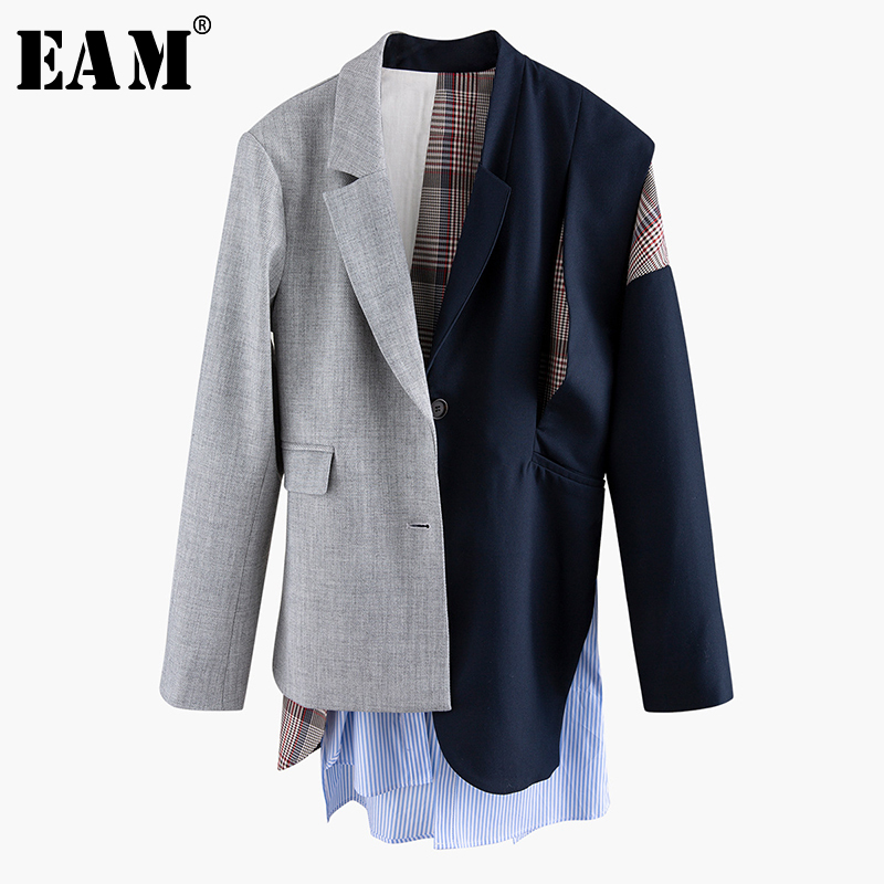 [EAM]  Women Asymmetrical Striped Plaid Big Size Blazer New Lapel Long Sleeve Loose Fit  Jacket Fashion Spring Autumn 2020 1N901