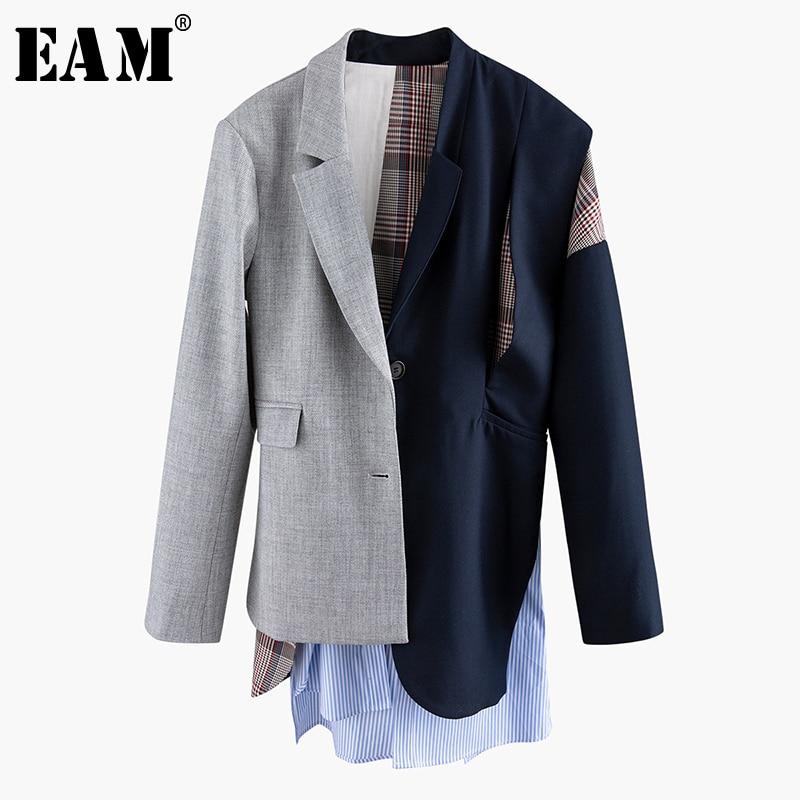[EAM]  Women Asymmetrical Striped Plaid Big Size Blazer New Lapel Long Sleeve Loose Fit  Jacket Fashion Spring Autumn 2020 1N901