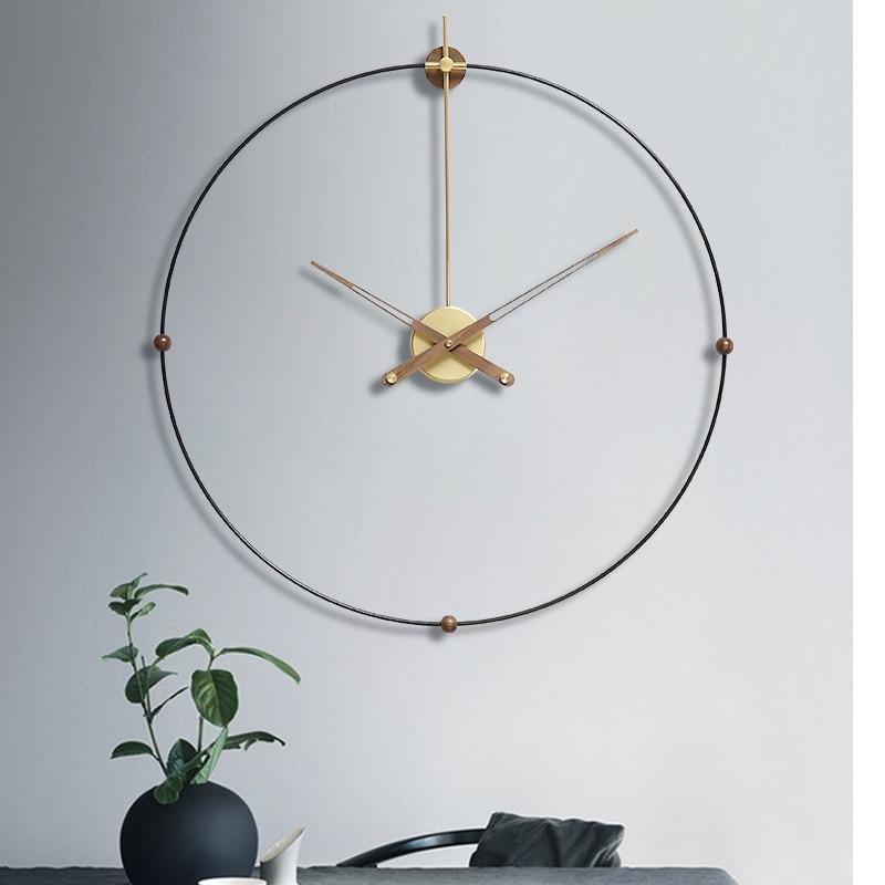 Hoshine Europe Brief Wall Clock Modern Design Wall Watch Home Decor Metal Zegar Scienny Room Decoration Horloge Large Size