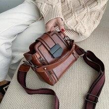 2020 New Women Bucket Shoulder Bag Vintage PU Leather Lady Handbag Luxury Designer Bolsos Mujer Black Sac A Main Femme