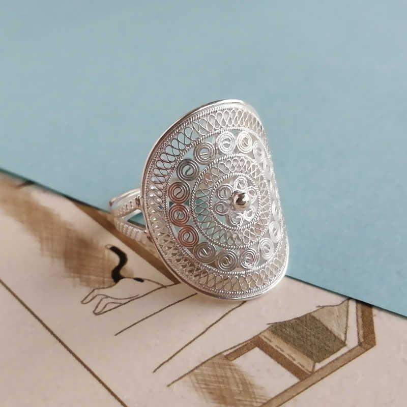 خواتم كلاسيكية بوهيمية من الفضة الإسترليني عيار 999 للرجال بتصميم فاسق قوطي خاتم بوهو كبير مجوهرات فاخرة قابلة للتعديل يدوية الصنع للجنسين