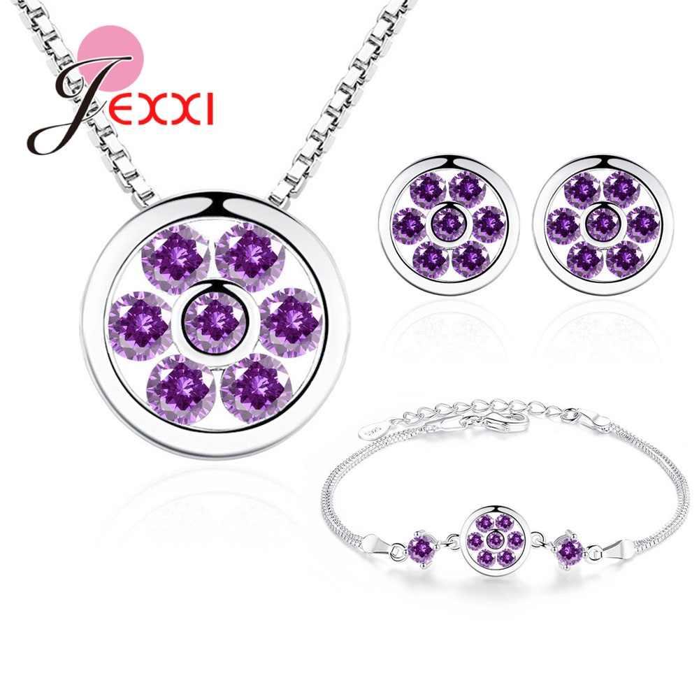 New Design 925 Sterling Silver Pendant Necklace Stud Earrings Bracelet Sets Cubic Zirconia Ear Rings Elegant Jewelry Love Gift