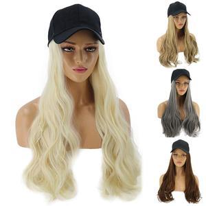 Женский длинный кудрявый парик, синтетический шиньон, наращивание волос с бейсбольной кепкой, противоскользящий дизайн, сохраняет твердос...