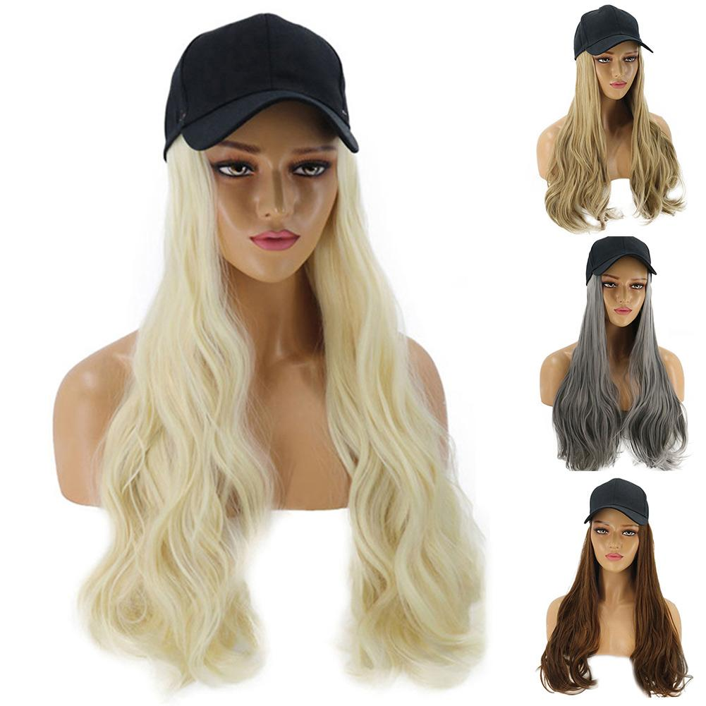 Women Girl Long Curly Wig Synthetic Hairpiece Hair Extension With Baseball Cap Anti-slip Design, Keep Staying Firm On Your Head.