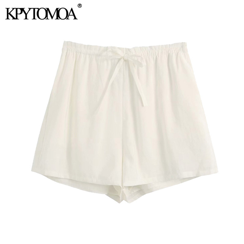 KPYTOMOA Women 2020 Fashion With Drawstring Shorts Vintage High Elastic Waist Side Pockets Female Short Pants Pantalones Cortos