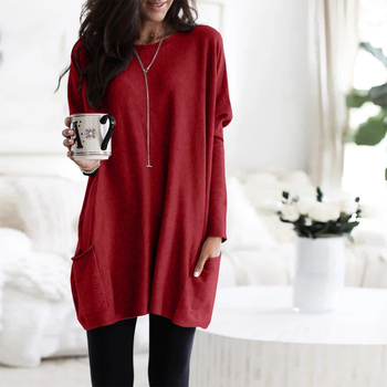 Casual Dress Women Autumn Loose O Neck Long Sleeve Pockets T-shirt Dress Solid Color Simple Winter Warm Plus Size Vestidos XXXL 5