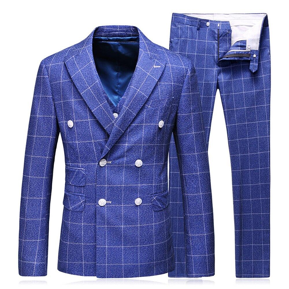 (Jacket+Vest+Pants) 2018 Men's Business Wedding Suit Double Breasted Male Fashion Stripe Classic Royal Blue Tuxedo Suits S-5XL