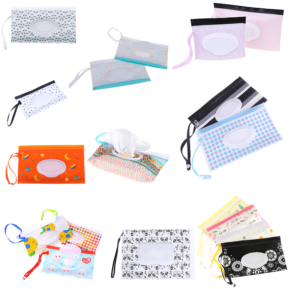 Eco-Friendly Baby Wipes Bag Wet Wipe Box Cleaning Wipes Portable Bag Container Case Kids Reusable Wet Wipes Bag Chaning Pad