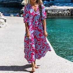 Women Sexy V-Neck Party Dress Casual Vintage Floral Print Loose Beach Dress 2021 Summer Elegant Half Sleeve Long Dress Vestidos