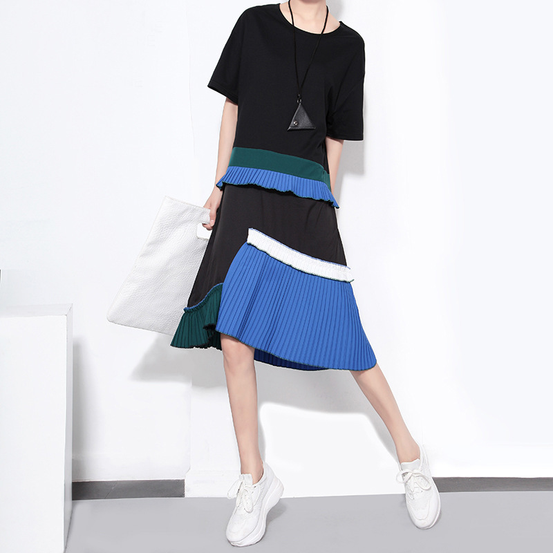 Short Sleeve Pleated Irregular Loose O-Neck Dress 1