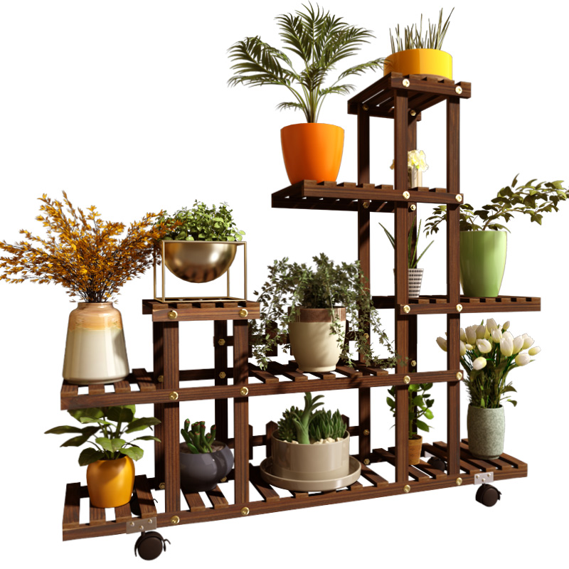 Succulent Flower Pot Flower Shelf Solid Wood Multi-level Falling Floor Indoor Balcony Living Room Home Green Loll Special Rack