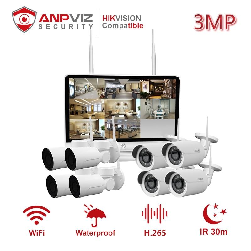 Anpviz 8CH 3MP 1080P balle IP WIFI caméra extérieure sans fil 8 pièces système de vidéosurveillance Kit de came H.265 IP66 Onvif
