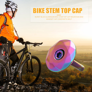 1-1/8 inch Bike Stem Top Cap Aluminum Alloy Bicycle Headset Cap Cover with Bolt Burnt Blue Front Fork Head Tube Accessories