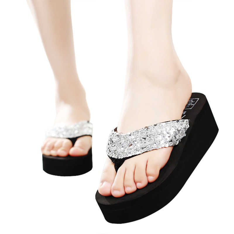 Dihope flop katı slaytlar kadın rahat sandalet kadın kalınlığı pullu ayakkabı Zapatillas ayakkabı terlik plaj yaz