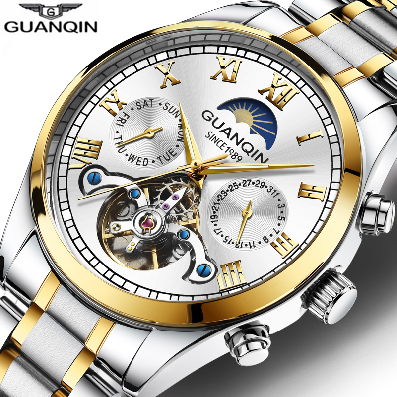 Relogio Masculino 2020 GUANQIN Men Business Automatic Watch Men Luxury Brand Steel Waterproof Wristwatch Mechanical Moon Phase