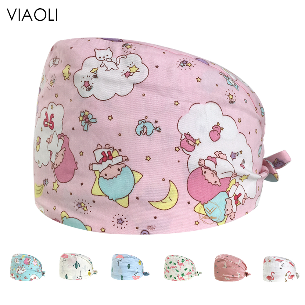 New Doctors Surgical Cap Cotton Printing Doctor Nurse Scrub Caps Red Flamingo Print Adjustable Hospital Clinic Women's Work Hat