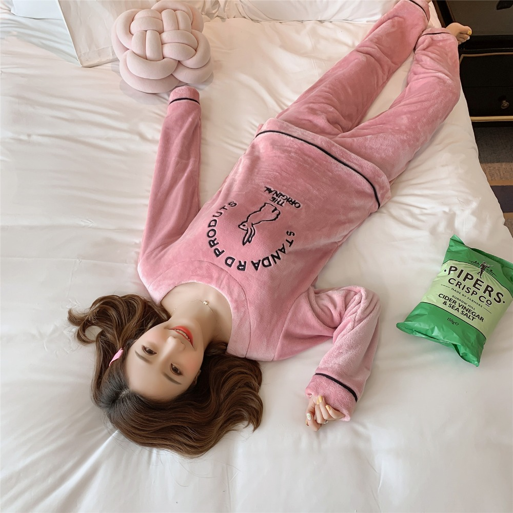 Betyline 2019 New Winter Pajamas For Women Sleepwear Warm Flannel Long Sleeves Pajamas Cute Animal Homewear Thick Homewear 157