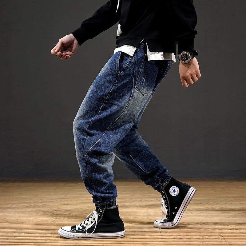 Japanese Style Fashion Men Jeans Loose Fit Spliced Designer Harem Jeans Men Cargo Pants Streetwear Hip Hop Joggers Jeans Homme
