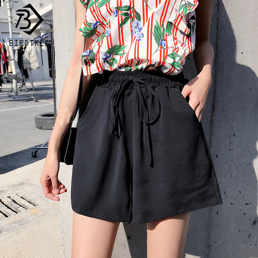 Plus Size 2020 Summer New Women's Office Lady Loose Drawstring Shorts Fashion High Waist Wide Leg Shorts Female Bottoms B03407O