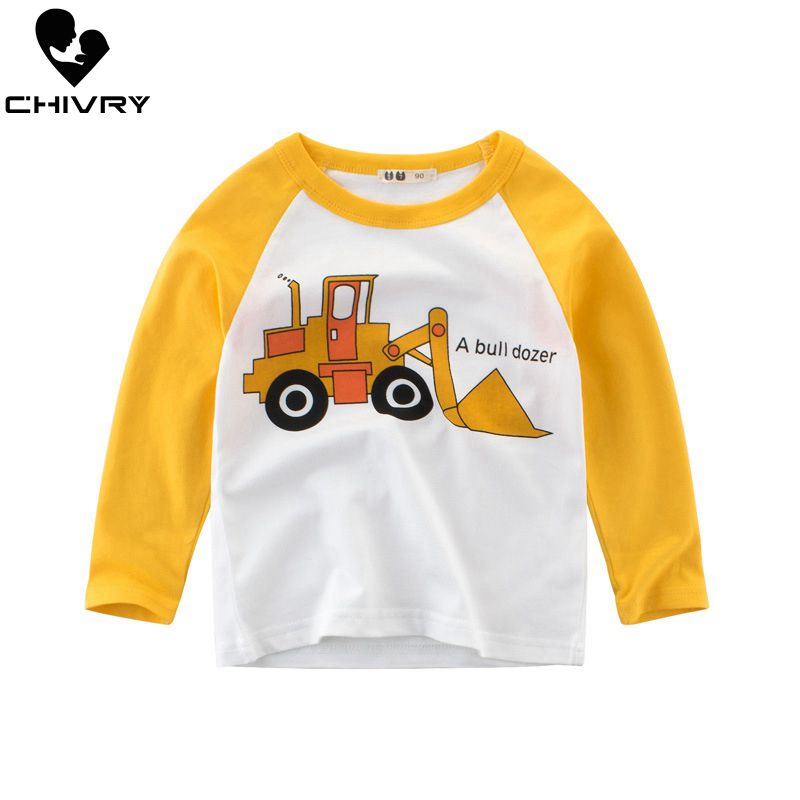 Boys T-Shirt Tops Excavator Spring Long-Sleeve Autumn Kids Cartoon Cotton Patchwork O-Neck