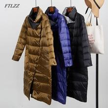 FTLZZ 2020Women New White Duck Down Ultra Light Jacket Coat