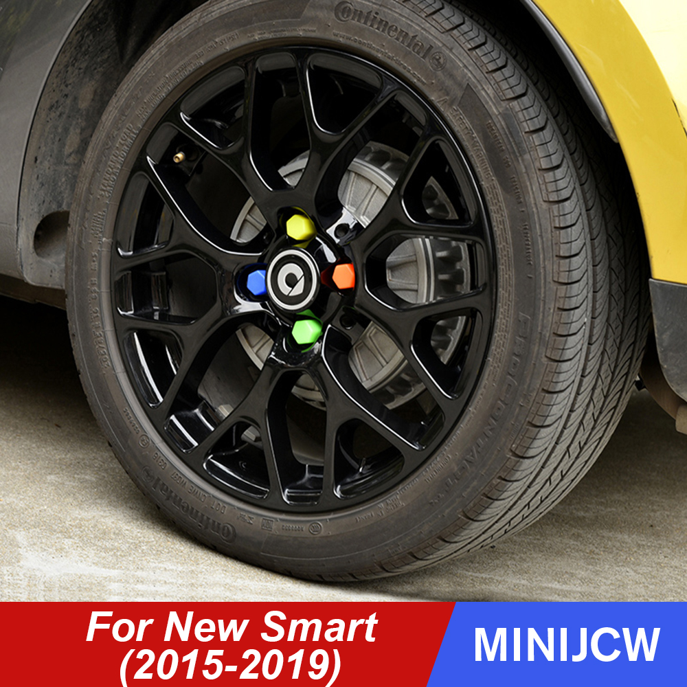4Pcs <font><b>Wheel</b></font> Hub Screw Cap <font><b>Silicone</b></font> Protector Cap <font><b>Nut</b></font> <font><b>Cover</b></font> For New Smart 453 fortwo forfour Exterior Decoration <font><b>Car</b></font> Accessories image