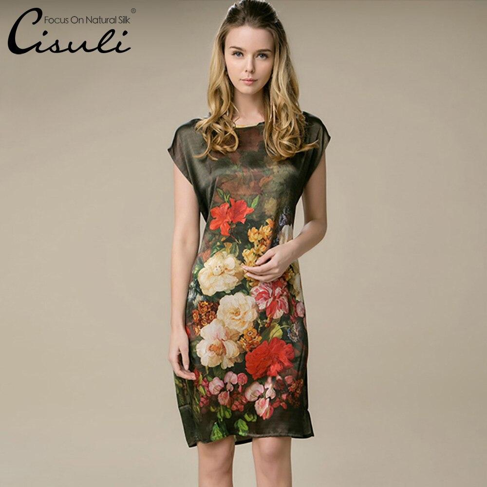 US $8.8 8% OFF8% Silk Gerade Kleid Neue Designal Natürliche Seide  Frauen Kleid Sommer Stil Desigual Satin Kleid Blume Gedruckt Musterdress