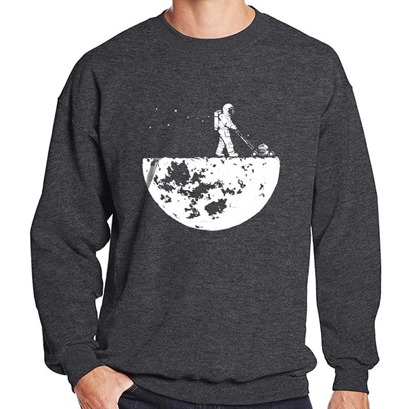 Hot Sale 2019 Men Sweatshirts Autumn Winter Fleece Print Develop The Moon Fashion Casual Men's Sportswear Hoody Harajuku Hoodies