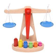 Детская игрушка деревянные весы с 6 весами, отлично подходит для обучения детей