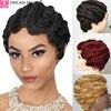 Dreamdiana perucas de cabelo brasileiro pré colorido perucas de cabelo humano curto ondulado bob perucas não remy 4
