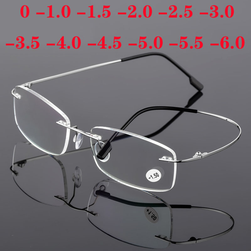 Titanium Alloy Rimless Eyewear Men Women Frameless Super Light Stainless Steel Frame Myopia Glasses -1.0 -1.5 -2.0 -2.5 To -4.0