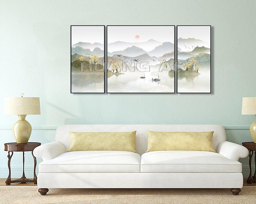 Reine Hand Gemalt Chinesischen Stil Berg und See Tinte Landschaft Malerei auf Leinwand für Decor Gruppe Gold Landschaften Öl gemälde - 3