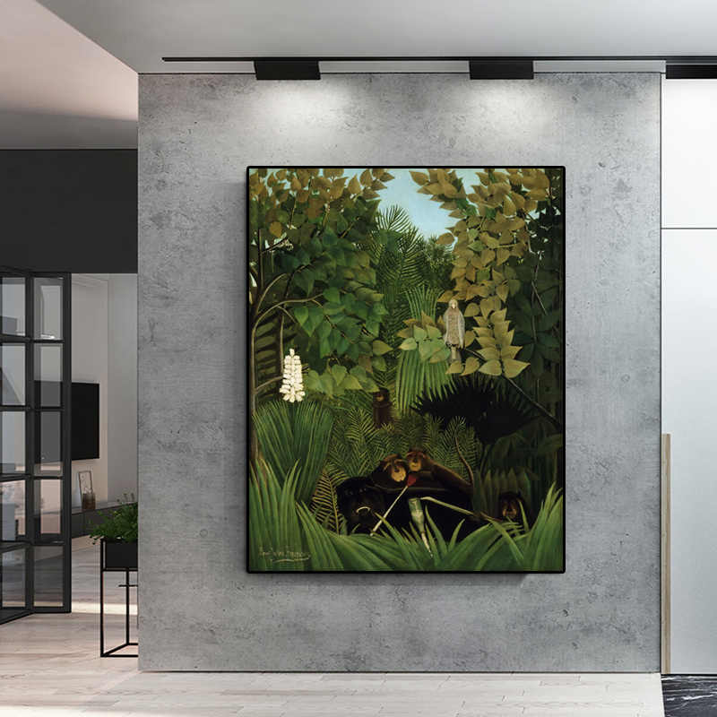 Modern Abstract Landscape Green Tree Oil Painting By Henri Rousseau Poster Canvas Painting Cuadros Wall Pictures For Living Room