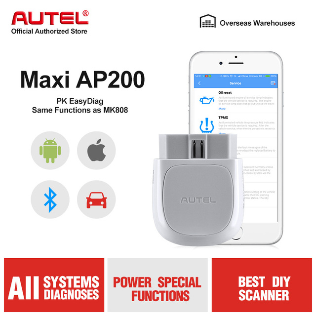 Autel AP200 Bluetooth OBD2 Scanner Car Code Reader with All System Diagnoses and 19 Service Functions Automotive Scan Tool