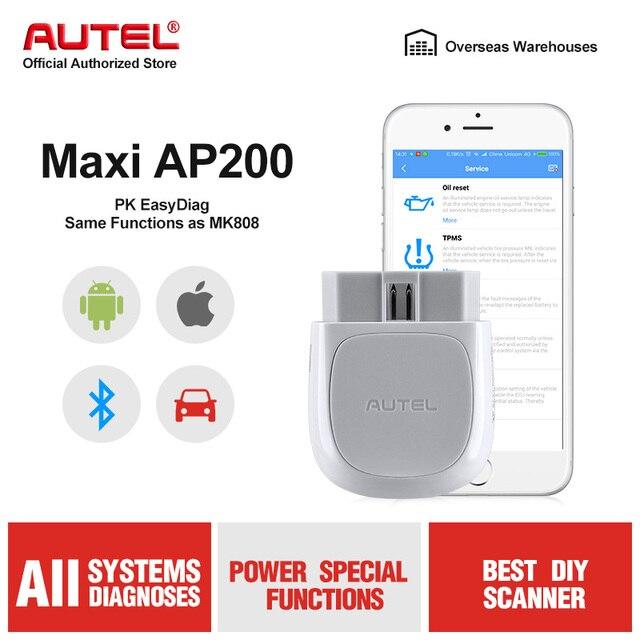 Autel AP200 escáner OBD2 con Bluetooth, lector de códigos de coche con todos los sistemas de diagnóstico y 19 funciones de servicio, herramienta de escaneo automotriz