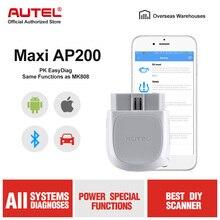 Autel ap200 bluetooth obd2 scanner leitor de código do carro com todos os diagnósticos do sistema e 19 funções de serviço ferramenta de verificação automotivo